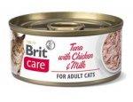 BRIT CARE cat konz. ADULT TUNA/chicken/milk 70g, zboží skladem