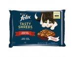 FELIX kapsa TASTY SHREDS 4 x 80g HOVĚZÍ/kuřecí ve šťávě, zboží skladem